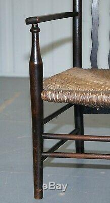 1 Of 2 19th Century Morris & Co Liberty London Lathback Armchair Rush Seat Small