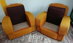 1 x 20S/1930S ART DECO MUSTARD YELLOW Club Chair Armchair Retro Vintage Brown