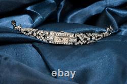 1920s Art Deco Platinum Egyptian Revival Diamond Set Bracelet Watch