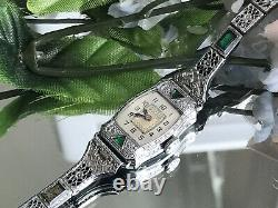 1930 Ladies Art Deco Emerald Bulova Watch Emerald Filigree Band