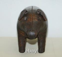 1930's Pig Original Liberty's London Omersa Brown Leather Footstool Must See