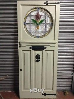 1930s Reclaimed Edwardian Art Deco Style Stained Glass Front Door Delivery