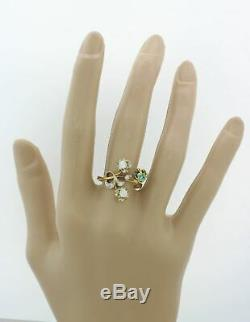 1940s Vintage Art Deco Style 18k Solid Yellow Gold. 25ct Emerald Diamond Ring
