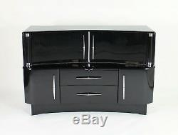 1950s Stylish sideboard cocktail cabinet in piano black