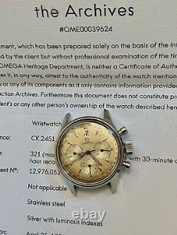 1951 Vintage Omega Chronograph Cal 321 Ref 2451 Pre SpeedMaster w EOA