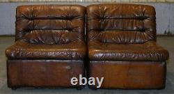 1960's Restored De Sede Modular Ds Br Brown Leather Corner Sofa Armchair Suite