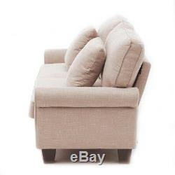 2 Seater Sofa Seat Saver Armchair for 3 People Fabric Sofa with Washed Case
