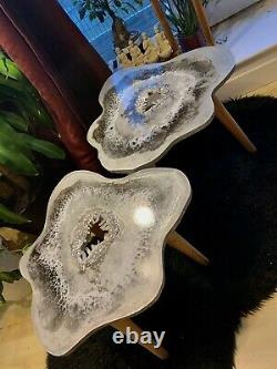 2 X GEODE RESIN Crystal SILVER WHITE Resin painting decor coffee/side table Set