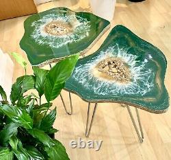 2 XGeode Resin Crystal Green Gold Art Resin painting decor coffee/side table Set