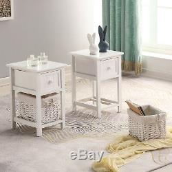 2 of Wooden Bedside Tables Shabby Chic White Drawers & Wicker Basket Cabinet