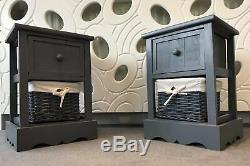 2 x BEDSIDE GREY CABINET NIGHTSTAND TABLES WITH WICKER BASKET AND DRAWER