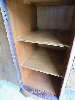 20thC, art deco, walnut, inverted, break front, bow front, sideboard, drawers, cupboard