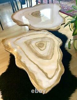 2Handmade Geode Resin White Gold Art Resin painting decor coffee/side table Set