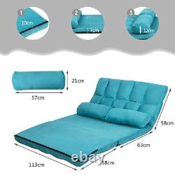 3 IN 1 Folding Lazy Sofa Bed Floor Sleeper Seat 6-Position Adjustable 2 Pillows