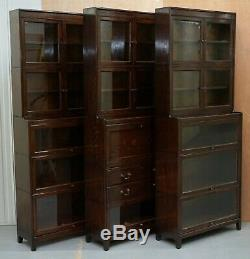 3 Rare 1920 Gunn Library Stacking Bookcases + Desk Bureau Minty Globe Wernicke