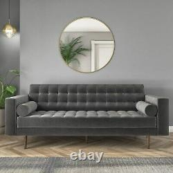 3 Seater Sofa in Grey Velvet with Buttoned Back & Bolster Cushions Elba SOF042