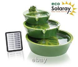 3 Tier Bowl Water Feature Fountain Cascade Solar Power Contemporary Green Garden