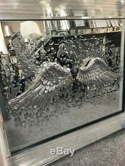 3D Angel Wing Picture with Mirrored Frame, silver wing mirror picture