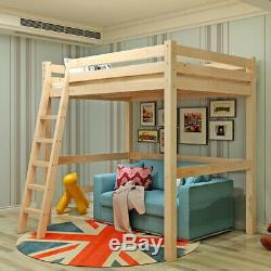 3FT Single Wood Loft Bunk Bed Solid Pine Kid Cabin Bed with Ladder High Sleeper UK