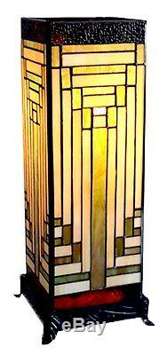 47cm Tiffany Style Table Lamp Square Art Deco Design Glass Shade + Light Bulbs
