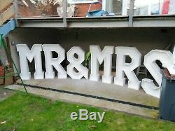 4ft/122cm MR&MRS Chunky Letters For Sale finnished in Matte White
