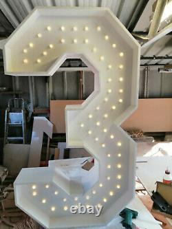 4ft/122cm NUMBERS with LIGHTS For Sale finished in Matte White