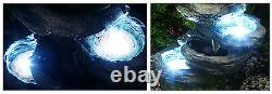 5 Step Rock Effect Cascading Water Feature White Lights Stone Pool Indoor Garden