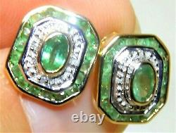 9ct Gold Emerald Earrings Diamond Art Deco Style 9 Carat Yellow Gold Stud