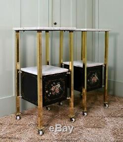 A Pair of Early 20th C French Brass Marble Bed Side Cabinet Lamp Hall Tables