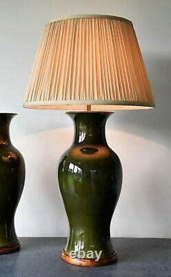 A Pair of Vintage Chinese Olive Green Ceramic Brass Bed Side Table Hall Lamps