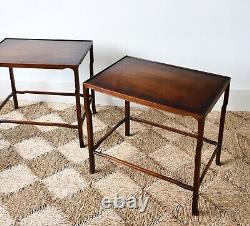 A Pair of Vintage Chinese Oriental Hardwood Hall Bed Side Sofa Chair Tables