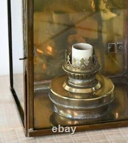A Pair of Vintage Copper & Brass Porch Hall Side Table Lamp Wall Lights Lanterns