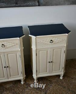 A Pair of Vintage Swedish Gustavian Nordic Style Bed Side Cabinet Lamp Tables