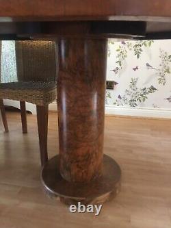 AMAZING ART DECO WALNUT BURR 7ft DINING TABLE Seats 8 Chairs HANDMADE Suffolk
