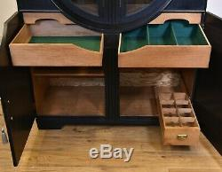 ART DECO BLACK EBONISED DISPLAY DRINKS CABINET Vintage 1930s