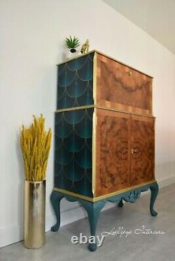 ART DECO COCKTAIL CABINET IN GREEN AND GOLD Drinks cabinet