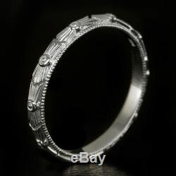 ART DECO ENGRAVED WEDDING BAND VINTAGE STYLE 20s ETCHED RETRO WHITE GOLD RING