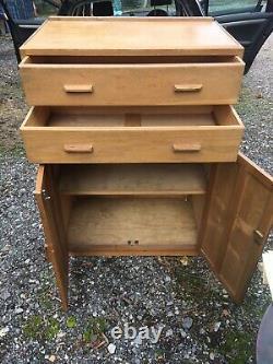 ART DECO Heals design Solid Oak Limed Oak Tallboy. Two Drawers Double Cupboard