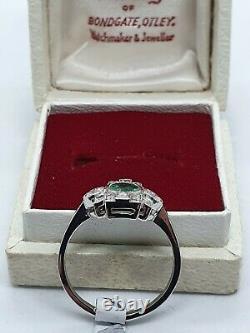 ART DECO STYLE Platinum Emerald & Diamond Ring