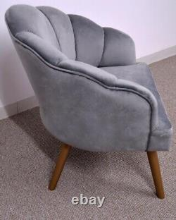 Accent Tub Velvet Chair Scallop Back Occasional Wooden Legs Retro Grey