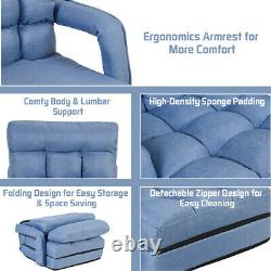 Adjustable Folding Lazy Sofa Lounger Floor Gaming Chair Couch Angle with Pillow