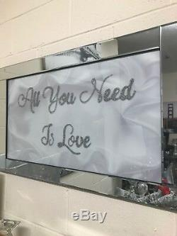 All you need is love sparkle glitz mirrored picture, glitter art wall picture