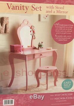 Amelia Vanity Set / Dressing Table With Mirror & Stool Children Kids Wooden Pink