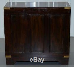 Anglo Indian Style Rosewood With Brass Inlay Military Campaign Chest Of Drawers