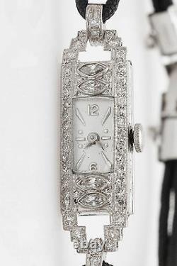 Antique 1930s ART DECO 1.50ct Marquis Diamond Platinum Ladies Watch WARRANTY