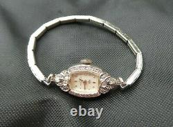 Antique 1940s Lady Hamilton 14k White Gold Ladies Art Deco Diamond Dress Watch