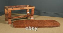 Antique Art Deco Epstein Burr Walnut Dining Table & Six Leather Dining Chairs