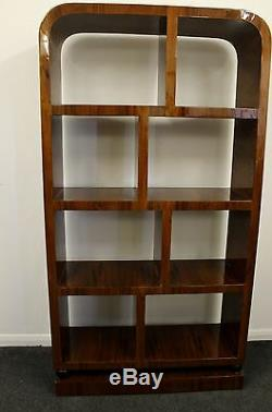 Antique Art Deco Style Furniture Bookcase In Rosewood Library Shelf Unit C214