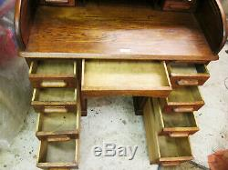 Antique Cylinder Bureau Bureaux Roll Top Tambour writing table Desk Oak Mahogany
