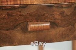 Antique English Art Deco Burr Walnut Bedroom Bowed Bedside Occasional Side Table